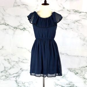 OLIVE & OAK Navy Ruffle Dress